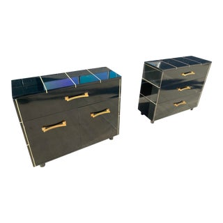 1940s Black Lacquer Chests or Nightstands by Kroehler - Set of 2 For Sale