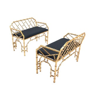 Pair of Gold Gilt Metal Faux Bamboo Upholstered Window Benches For Sale