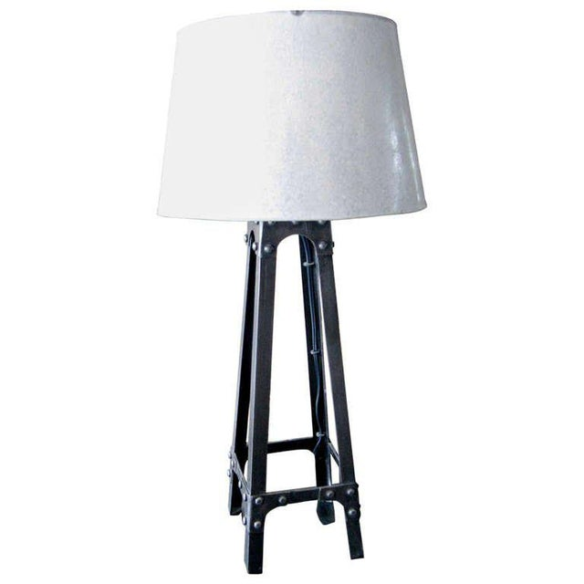 Industrial Charming Industrial Iron Lamp With Galvanized Metal Shade For Sale - Image 3 of 3