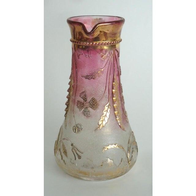 Art Nouveau 1900s Art Nouveau Czech Cranberry & Gold Flash Glass Pitcher For Sale - Image 3 of 8