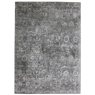 Bryant Gray/Charcoal Hand knotted Wool/Viscose/Cotton Area Rug - 9'x12' For Sale
