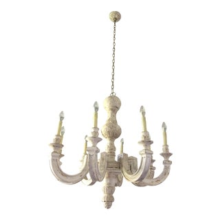 French White Carved Wood Chandelier For Sale