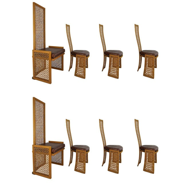 Italian Rattan Dining Chairs With French Caning by Vivai Del Sud - Set of 8 For Sale - Image 11 of 11