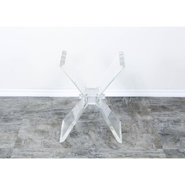 Mid-Century Modern Lucite Butterfly X Base Side Table For Sale - Image 3 of 10