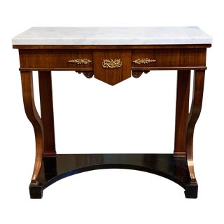 French Empire Mahogany Side Table with Ebony Base and Carrara Marble top For Sale