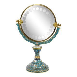 Late 19th Century Chinese Floral Cloisonné Enamel Vanity Mirror For Sale