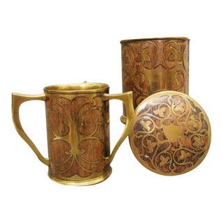 Art Nouveau Rosewood & Brass Humidor & Cup For Sale