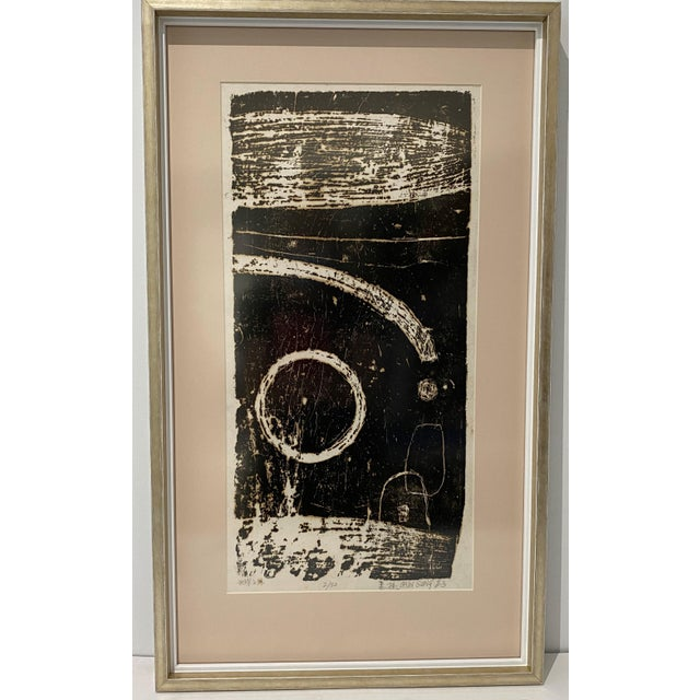 """Mid-Century Modern Space Age Wood-Block Print """"Away From the Earth"""" 2/20 by Chin Sung For Sale - Image 13 of 13"""
