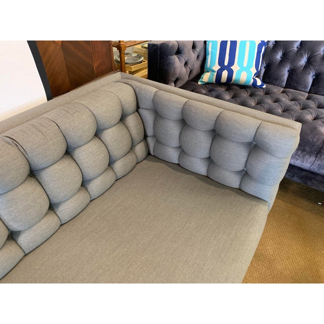1970s Vintage Milo Baughman Chrome and Tufted Gray Sofa For Sale In New York - Image 6 of 13