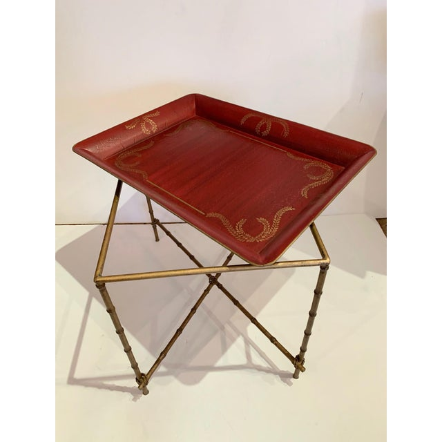 Red Tray Top Side Table With Gilt Bamboo Base For Sale - Image 8 of 13