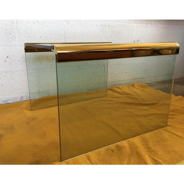 Vintage Leon Rosen Glass and Brass End Table for Pace Collection - Image 5 of 10