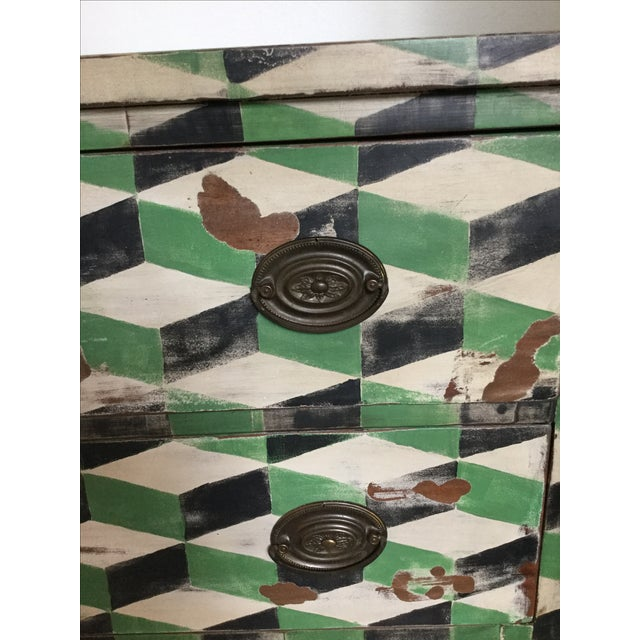 Geometric Hand Painted Antique Chest of Drawers - Image 10 of 10