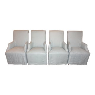 Restoration Hardware Hudson Roll-Back Slipcovered Armchairs - Set of 4 For Sale