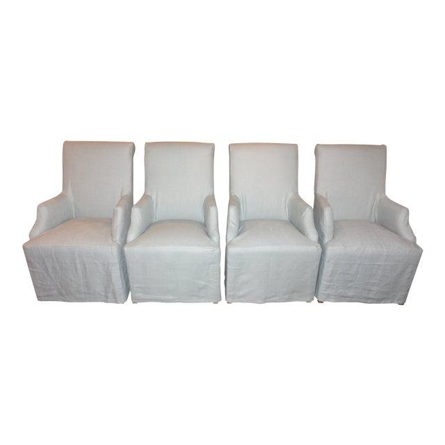 Restoration Hardware Hudson Roll-Back Slipcovered Armchairs - Set of 4 For Sale