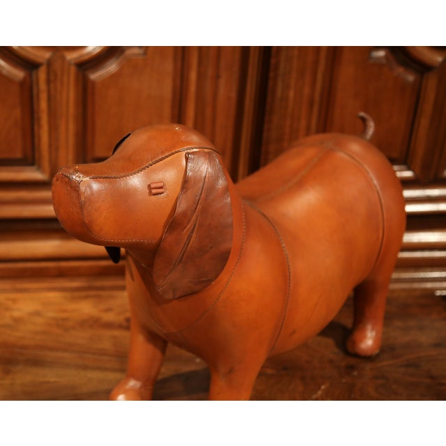Large French Brown Leather Dog Footstool For Sale - Image 4 of 9