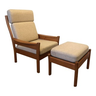 Dyrlund Teak High Back Chair and Ottoman, Mid Century, Made in Denmark