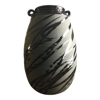1989 Hand Thrown and Stripped Glazed Vase Signed by Constantino For Sale