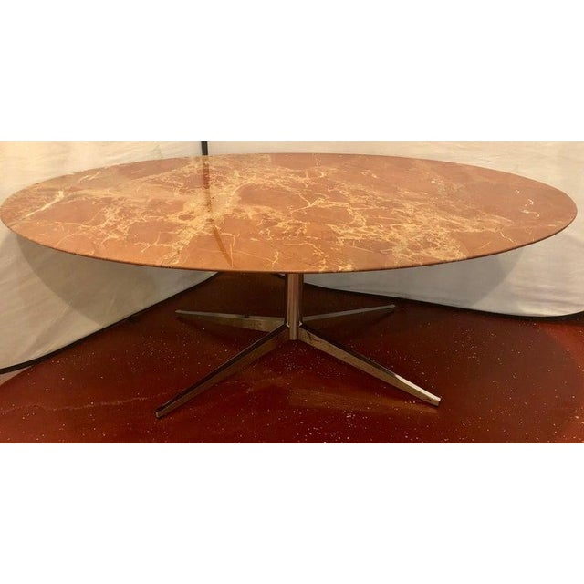 Mid-Century Modern Florence Knoll Dining Table / Conference Table Chrome Quad Based Marble Top For Sale - Image 3 of 12