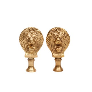 Solid Brass Lion's Head Lamp Finials - a Pair For Sale