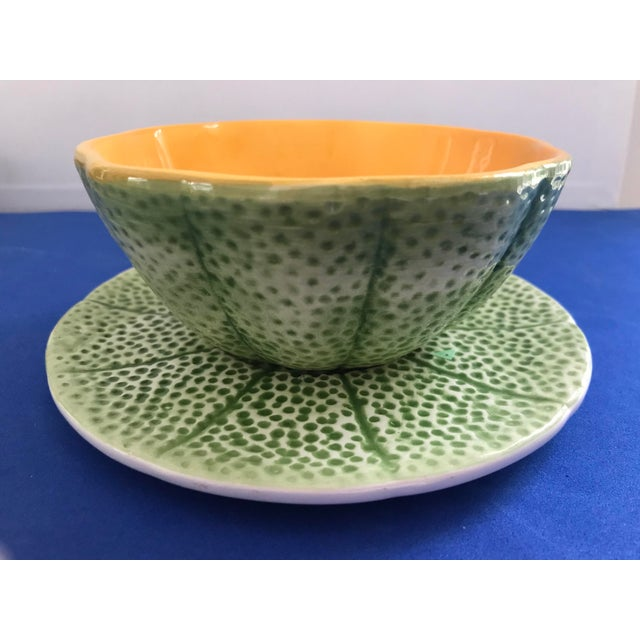 1970s Vintage Knobler Cantaloupe Bowls With Plates - Set of 4, 8 Pieces For Sale In New York - Image 6 of 13