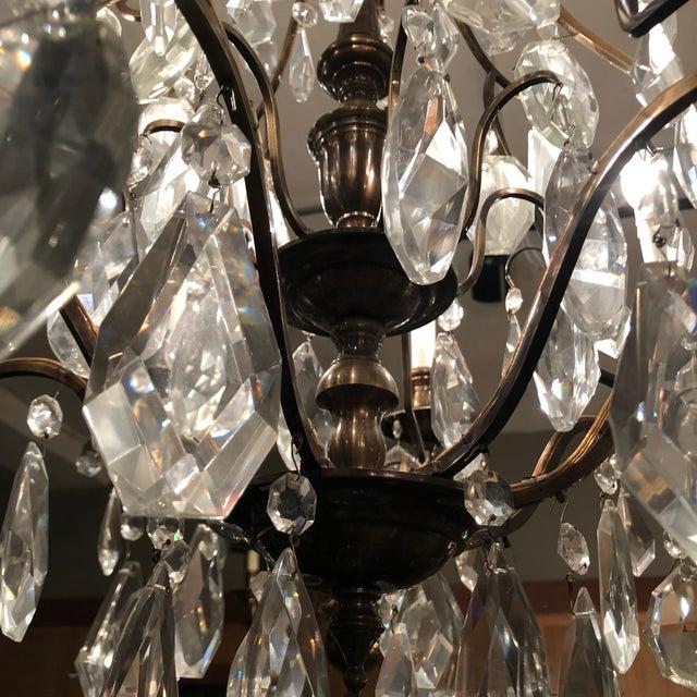 Metal 1930s Vintage Lead Crystal 8 Light Chandelier For Sale - Image 7 of 12