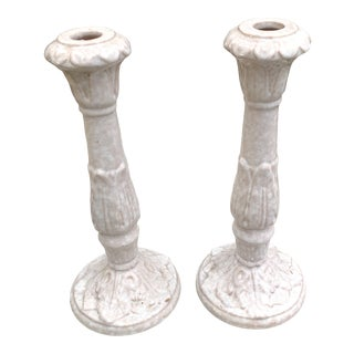 1970s Italian Faux Marble Cream and Pink Ceramic Candle Holders - a Pair For Sale