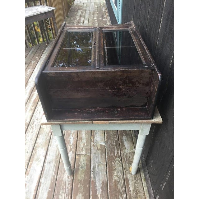 Brown Distressed Wooden Bookcase For Sale - Image 8 of 11