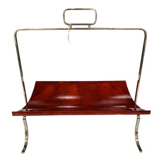 Global Views Red and Chrome Magazine Rack/ Tray For Sale