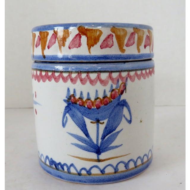 Handpainted Italian Ceramic Container For Sale - Image 4 of 8