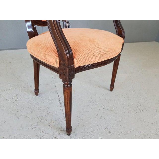 Wood Louis XVI Velvet Upholstery Arm Chair For Sale - Image 7 of 13