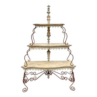 Custom Faux Painted Scalloped 3 Tiered Etagere For Sale
