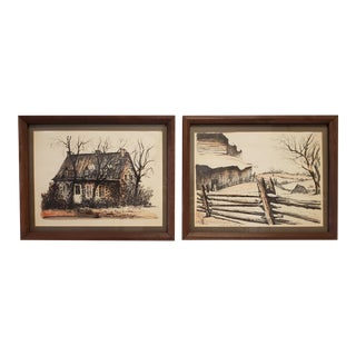 Vintage Lithograph A J Mourius Original Watercolor Over Ink Prints- a Pair For Sale