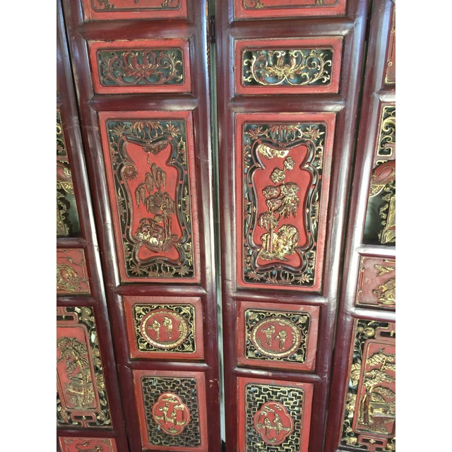 Antique Carved Asian Screen Each panel decorated with gilt and handcarved. Circa 1900 this piece is in great condition, it...