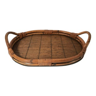 Vintage Oval Bamboo Serving Tray For Sale