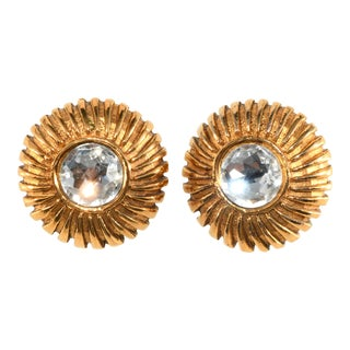 Chanel Earrings Rhinstone Gold Plated 1970s Vintage For Sale