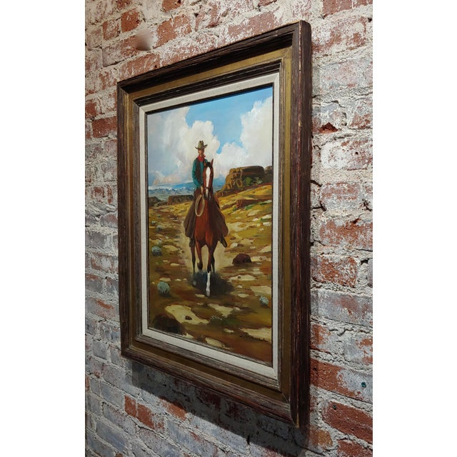"Arthur Roy Mitchell ""Cowboy on Horseback in Desert Landscape"" Oil Painting For Sale In Los Angeles - Image 6 of 8"