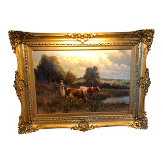 19th Century Oil on Canvas Milk Maid & Cows with Original Gilt Frame For Sale
