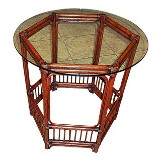 Bamboo Rattan Glass Top Table