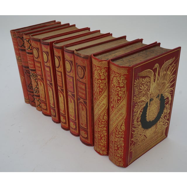 Antique 19c Decorator Books - Red With Gold Embossing - from a Palm Beach estate They make a showy set for decor. The...