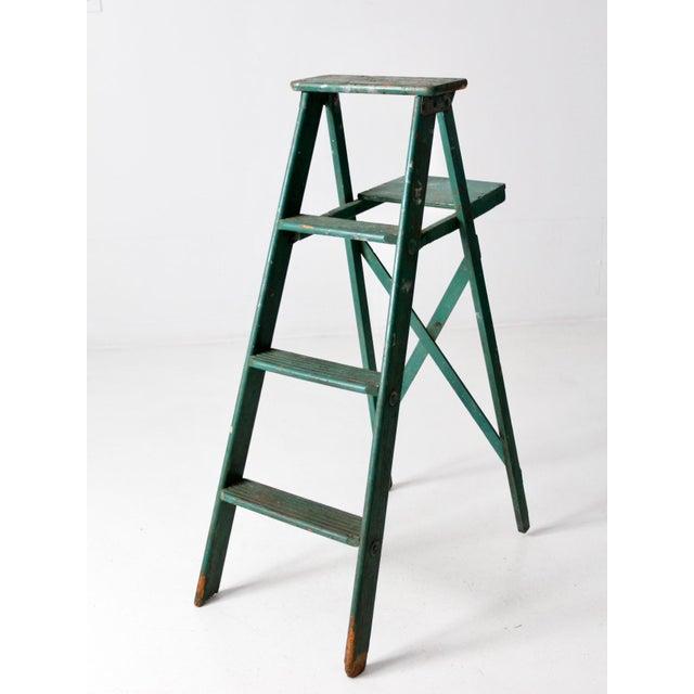 Vintage Green Wooden Ladder For Sale - Image 10 of 10