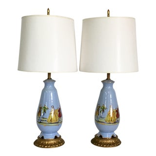 French Blue Decalcomania Porcelain Figural Motif Lamps - A Pair