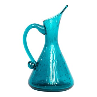 1960s Mid-Century Turquoise Art Glass Cocktail Decanter For Sale