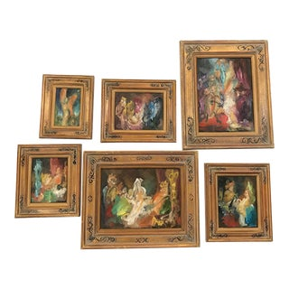 M. Cabrera Framed Oil Nativity Scene Paintings - Set of 6 For Sale