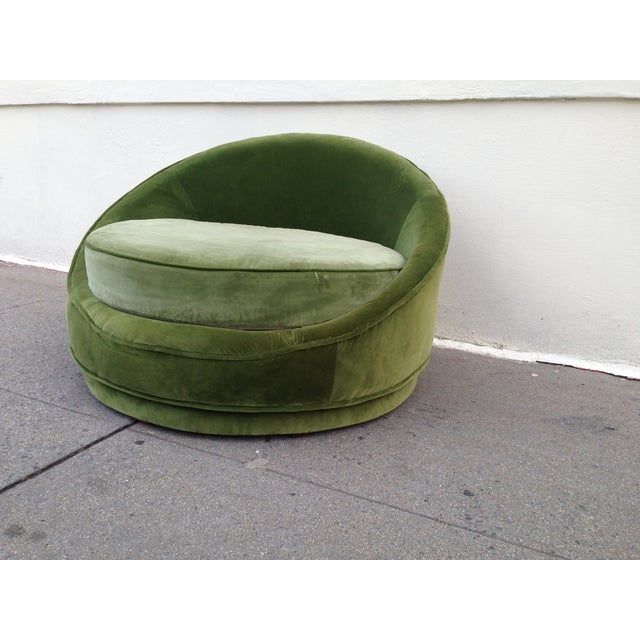 Milo Baughman Emerald Green Swivel Loveseat - Image 4 of 8
