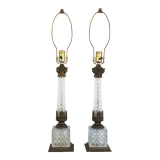 Neoclassical Diamond Cut Glass & Metal Berger Table Lamps - A Pair