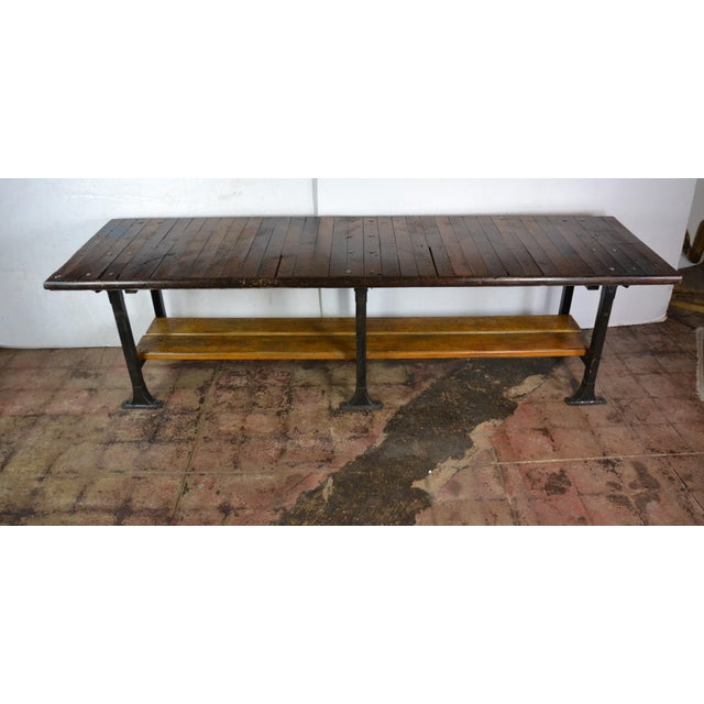 Industrial 1950s Long Industrial Table 10 Ft. For Sale - Image 3 of 9