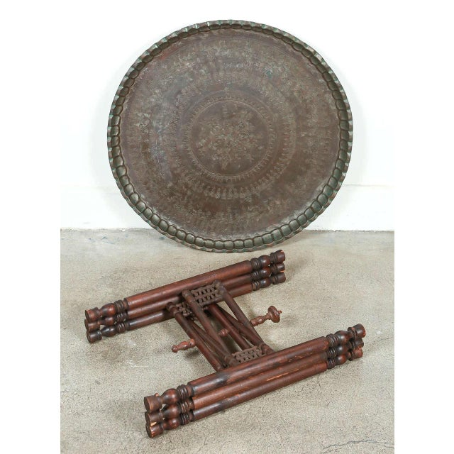 Early 20th Century Persian Mameluke Tray Table on Wooden Folding Stand For Sale - Image 5 of 8