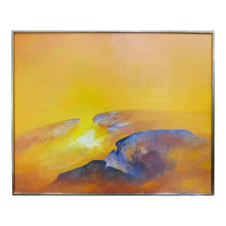 Large 1975 Byron Galvez Abstract Rocas Oil Painting on Canvas For Sale