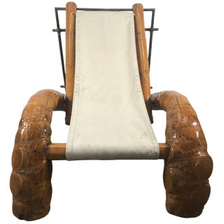 Unusual Massive Bamboo Root Chaise Sling Lounge Chair Modernist For Sale
