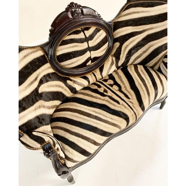 Metal Antique Settee in Zebra Hide For Sale - Image 7 of 9